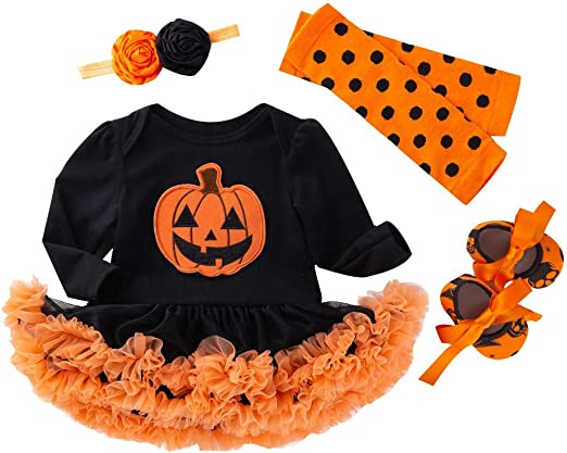 Newborn Baby Girls Halloween Pumpkin Party Romper Tutu Dress Clothes Outfits Set