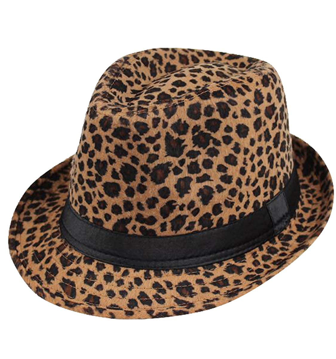 Clecibor Leopard Print Fedora Soft Outdoor Hat Cap Men Women Jazz Hat