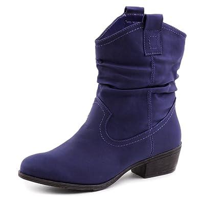 5927290733c3fa Marimo Damen Stiefel Stiefeletten Western Biker Boots Lederoptik Blau 36   Amazon.de  Schuhe   Handtaschen