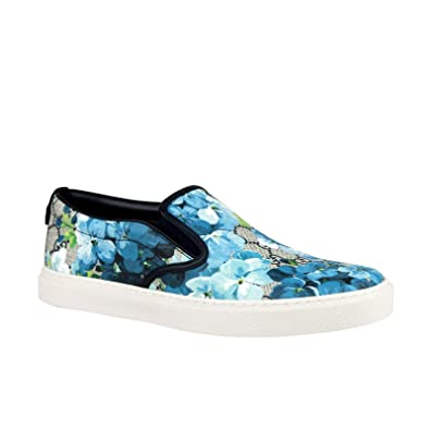 c4dcffc1082 Gucci Bloom Flower Print Blue GG Supreme Coated Canvas Slip Sneakers 407362  8471 (7 G