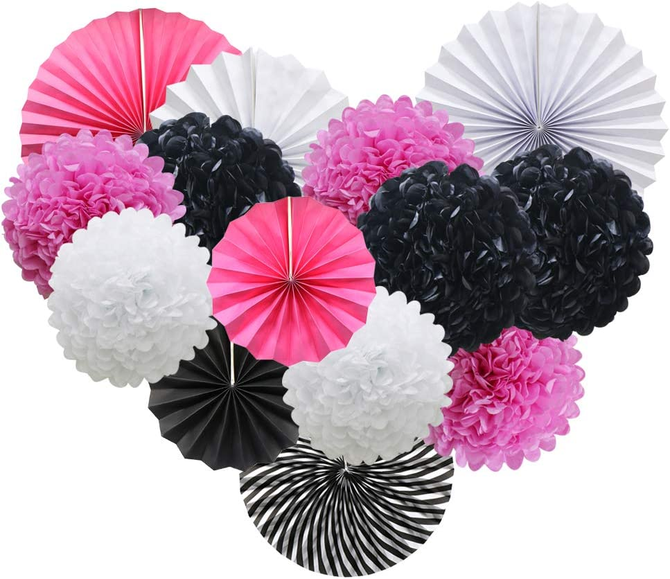 Pink White Black Hanging Paper Party Decorations, Round Paper Fans Set Paper Pom Poms Flowers for Minnie Mouse Theme Birthday Zebra Themed Baby Shower