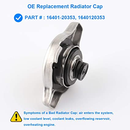 Replace 16401-20353,1640120353,Compatible with 1990-91 Lexus ES250 Radiator Cap Sub-Assembly 2000-06 Toyota Tundra,1993-2016 Toyota Corolla,1989-2001 Toyota CamryMore