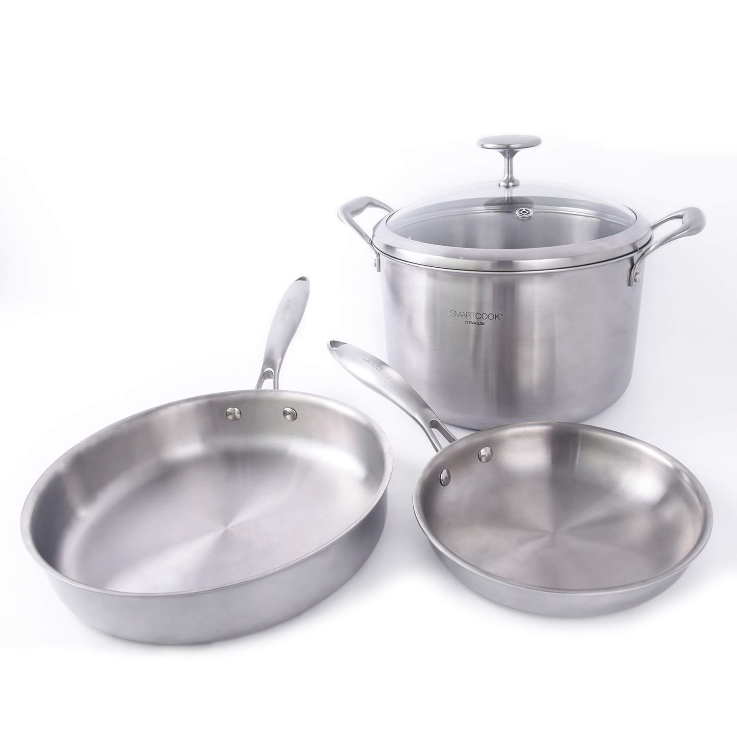8 and 10 Dishwasher Safe Smart Cook Titanium Cookware Set 4-Piece with Nonstick No Coating 82008 Silver 8 and 10 DONG GUAN HUI HENG FENG MANUFACTURER LIMITD