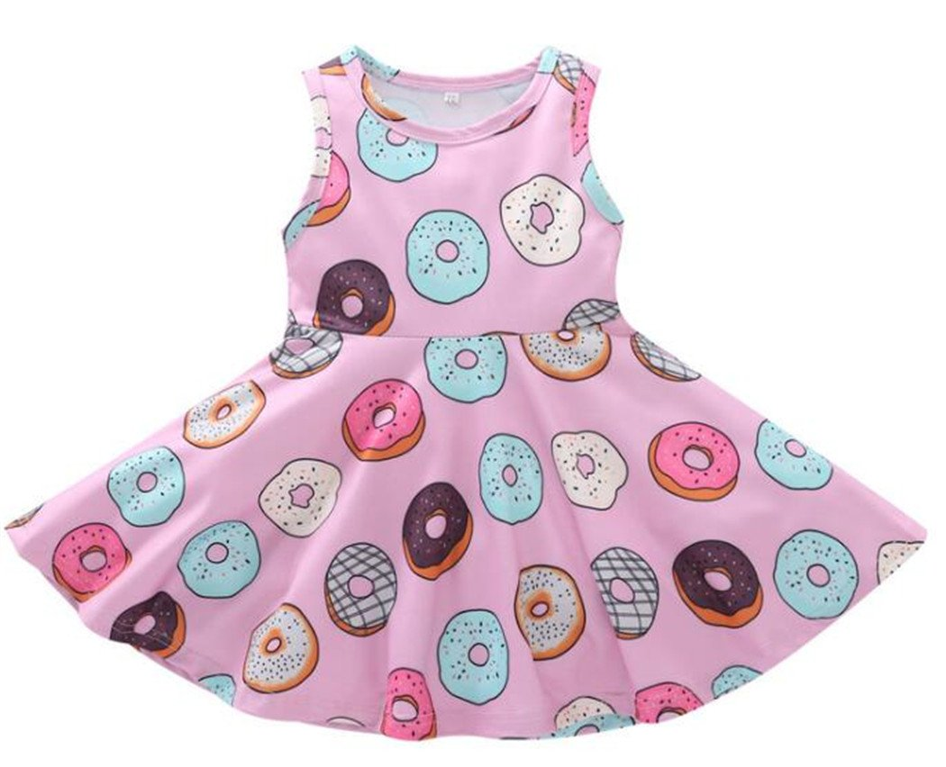 SUPEYA Baby Girls Cartoon Doughnut Print One-Piece Sleeveless Skirt Mini Dress