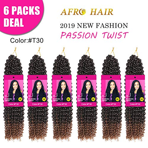 Afro Passion Twist Hair Long Bohemian Braids Passion Twist Crochet Braiding Hair Extension Hot Water Setting Kanekalon Low Temperature Synthetic Fiber (18