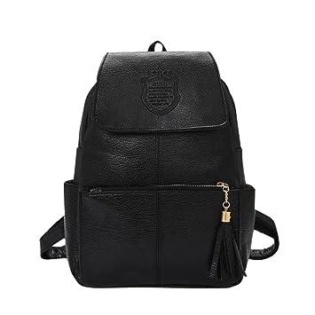 Honeymall Color Puro De gran capacidad Mochilas tipo casual Maletas y bolsas de viaje cuero 21 × 10 × 36 cm Negro: Amazon.es: Equipaje