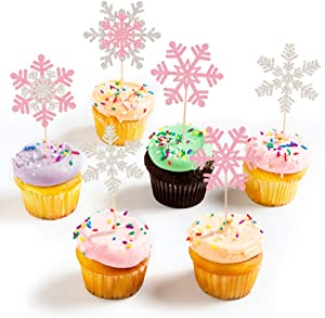 24Pcs Pink Glittery Christmas Cake Topper, Snowflake Cupcake Toppers-Winter Wonderland Baby Shower Decorations, Winter Wonderland Birthday Party Decor,Christmas Cake Decor, Winter Baby Shower Decorations