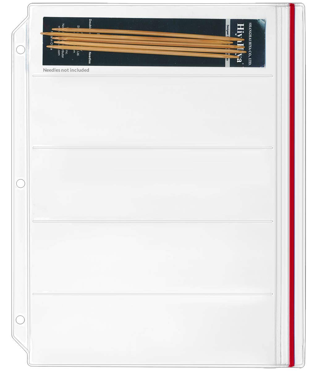 StoreSMART Binder Page for Double Point Needles - Holds 5 Needles per Page - 100-pack - DP500-5-100