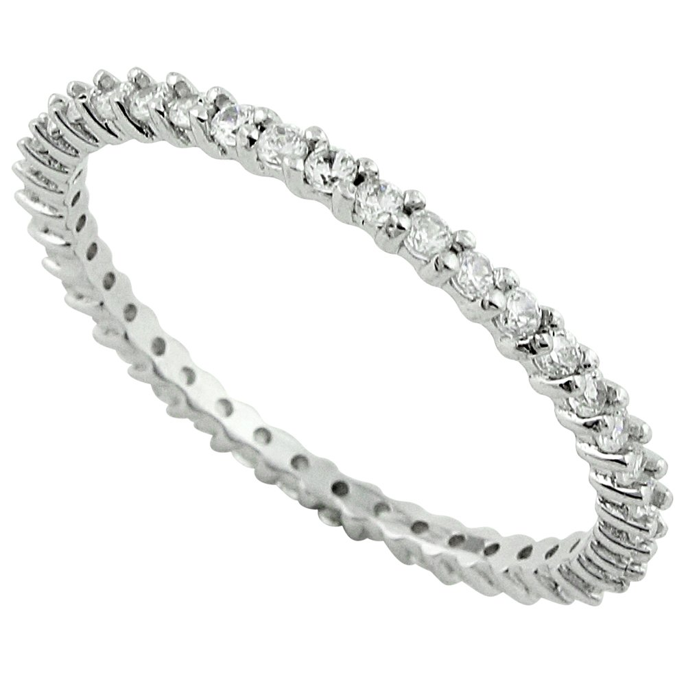 CloseoutWarehouse Cubic Zirconia Stackable Eternity Ring Sterling Silver Size 4