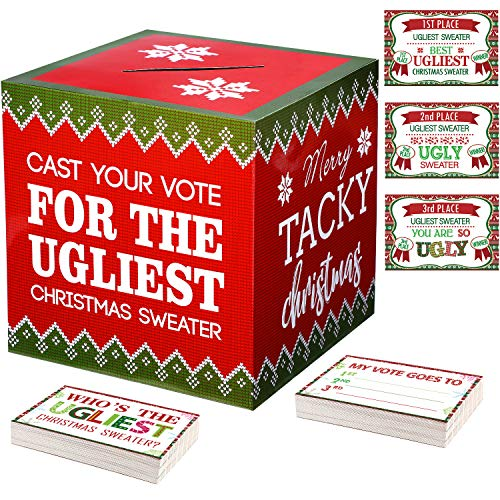 Ugly Sweater Ballot (52 Pieces Ugly Sweater Contest Ballot Box and Voting Cards Set Funny Christmas Ugly Sweater Game for Christmas Party Supplies and Xmas Holiday Party)