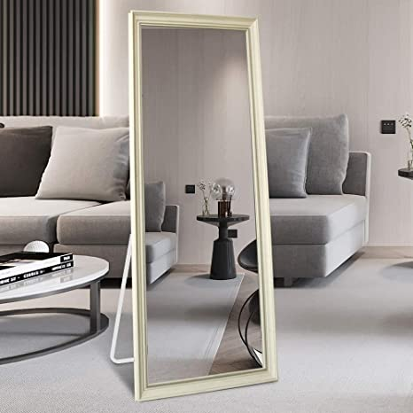 Niccy Full Length Mirror 65 X 22 Dressing Mirror Standing Hanging Or Leaning Against Floor Mirror Large Rectangle Bedroom Or Living Room Wall Mirror Ps Polymer Frame White Kitchen Dining