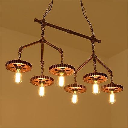 Lámparas de araña Wooden Gear Chandelier colgante Retro ...