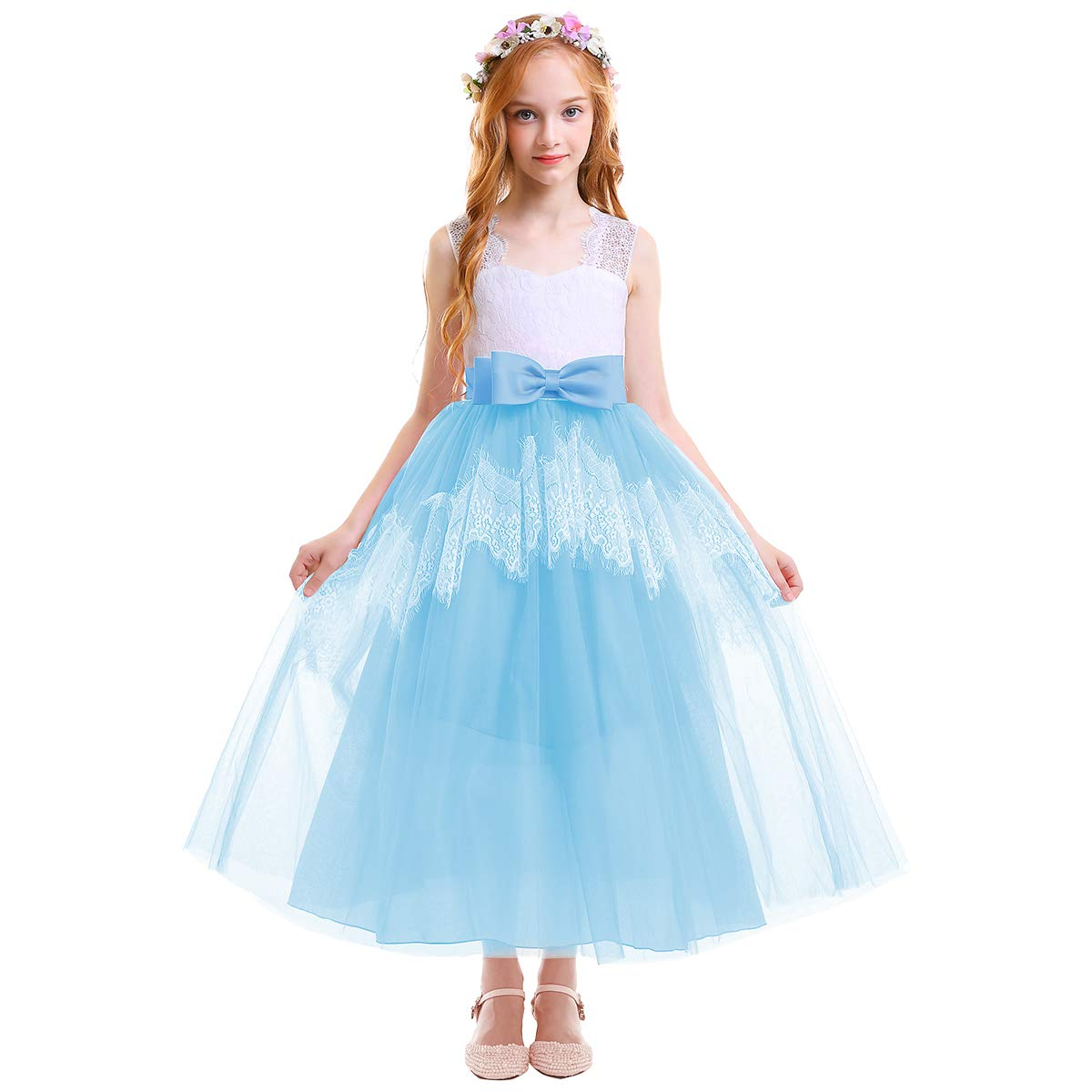 ae3ac02bef6ba Amazon.com: IMEKIS Flower Girls Lace Tulle Dress Kids Princess Floor Length  Bow Wedding Bridesmaid Pageant Party Communion Evening Gowns: Clothing