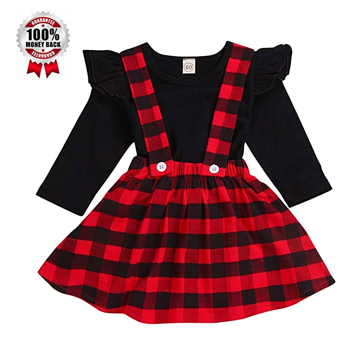 23fed8312dc41 Toddler Baby Girl Infant Plain T Shirts+Plaid Overall Skirt Set Cotton  Christmas Dress Outfits