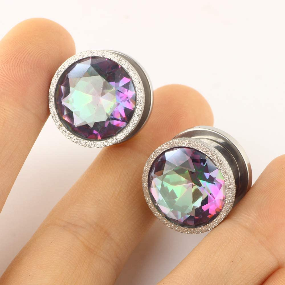TIANCI FBYJS 8 Pairs Stainless Steel Zircon Ear Tunnels Expander Plugs Stretcher 00g Gauges for Women Black Silver Cat on The Moon