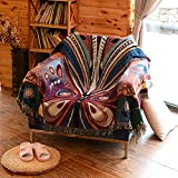 Plush sofa slipcover,American pastoral single sofa towel mat cotton blanket butterfly tapestry cover towel decorative blanket-A 130x160cm(51x63inch)