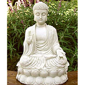 Sitting Shakyamuni Buddha White Stone Finish Large Garden Zen Statue Sculpture