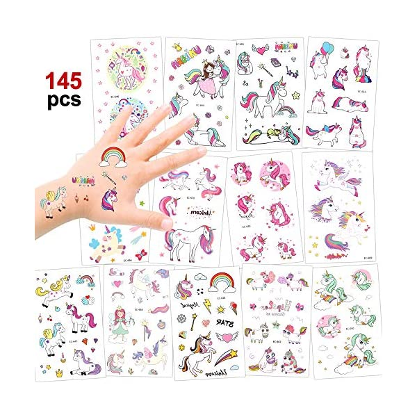 Girls Unicorn Temporary Tattoos, Konsait 145pcs Unicorn Tattoo Kids Unicorn Party Supplies Great Girls Party Favors For Children's Birthday Party Goody Bag Pinatta Fillers Beach Pool Party(13 Sheets) 2