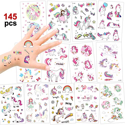 (Girls Unicorn Temporary Tattoos, Konsait 145pcs Unicorn Tattoo Kids Unicorn Party Supplies Great Girls Party Favors For Children's Birthday Party Goody Bag Pinatta Fillers Beach Pool Party(13)