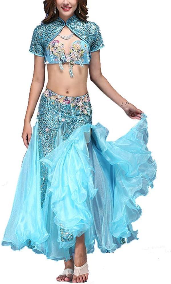 ZzheHou Vestido De Baile Latino para Mujer Belly Dance Costume Bra en Ropa Chaleco con Lentejuelas Show Set Azul Rojo Disfraz De Baile De Mujer (Color : Red, Size : S): Amazon.es: