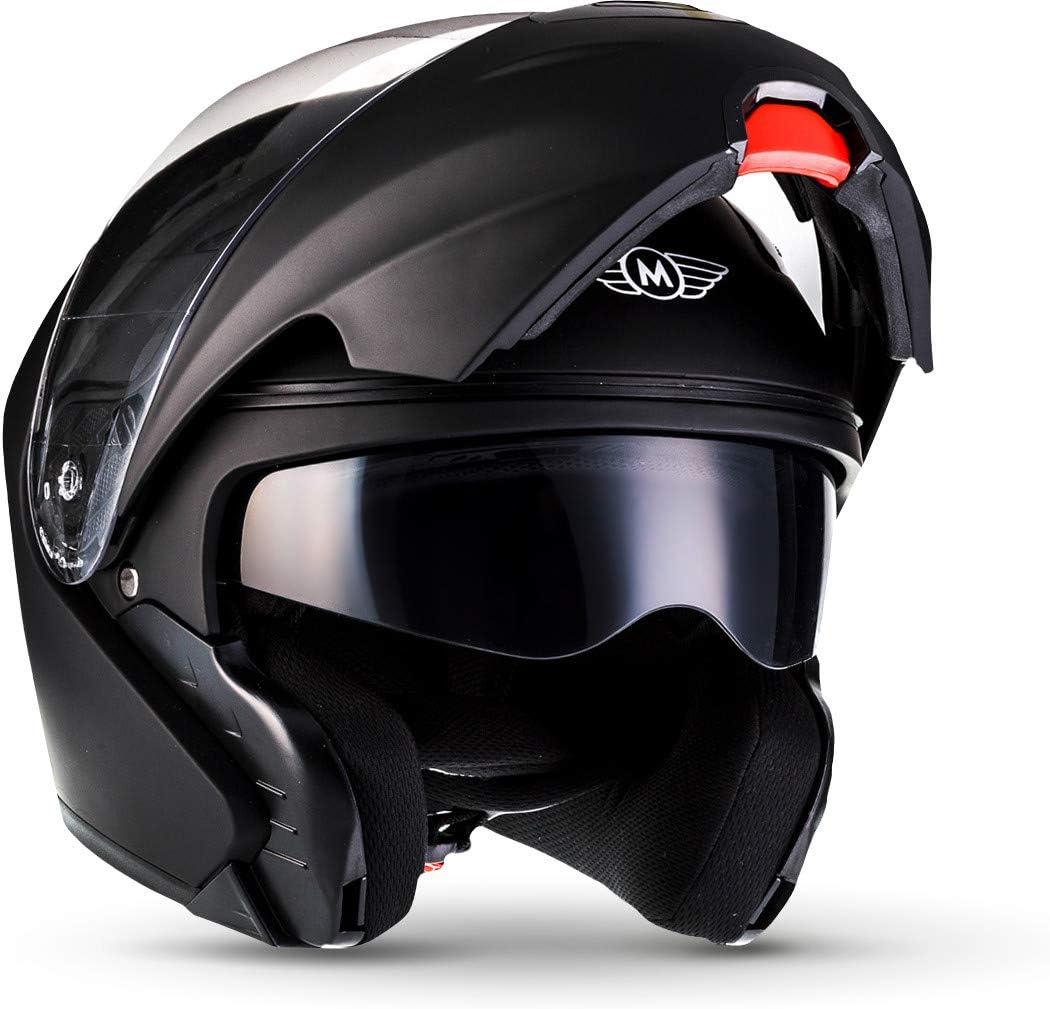MOTO F19 Integrale Moto Casco da Motocicletta, ECE certificado, Mate Negro, M (57-58cm)