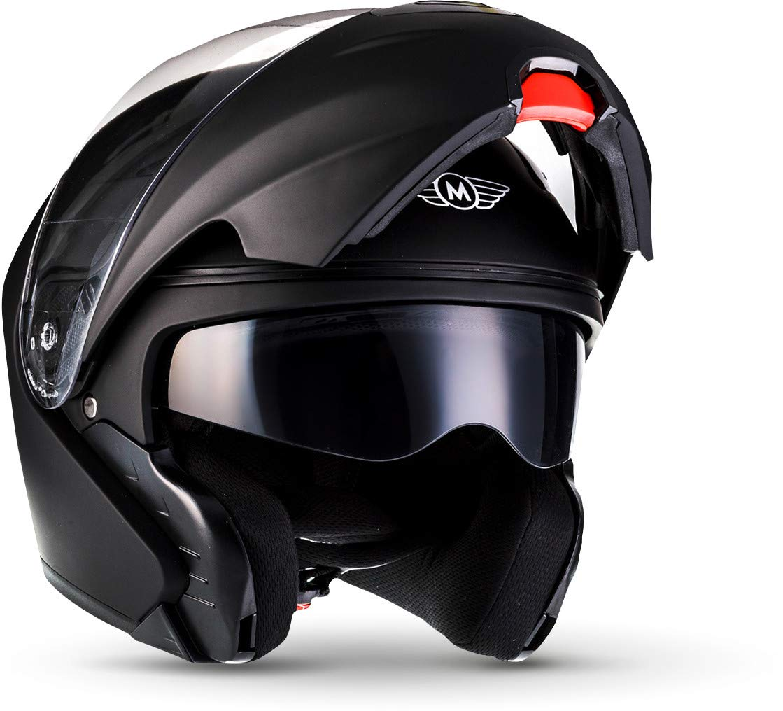MOTO F19 Matt Black · Cruiser Casco da motocicletta modulare Moto Modular-Helmet Flip-