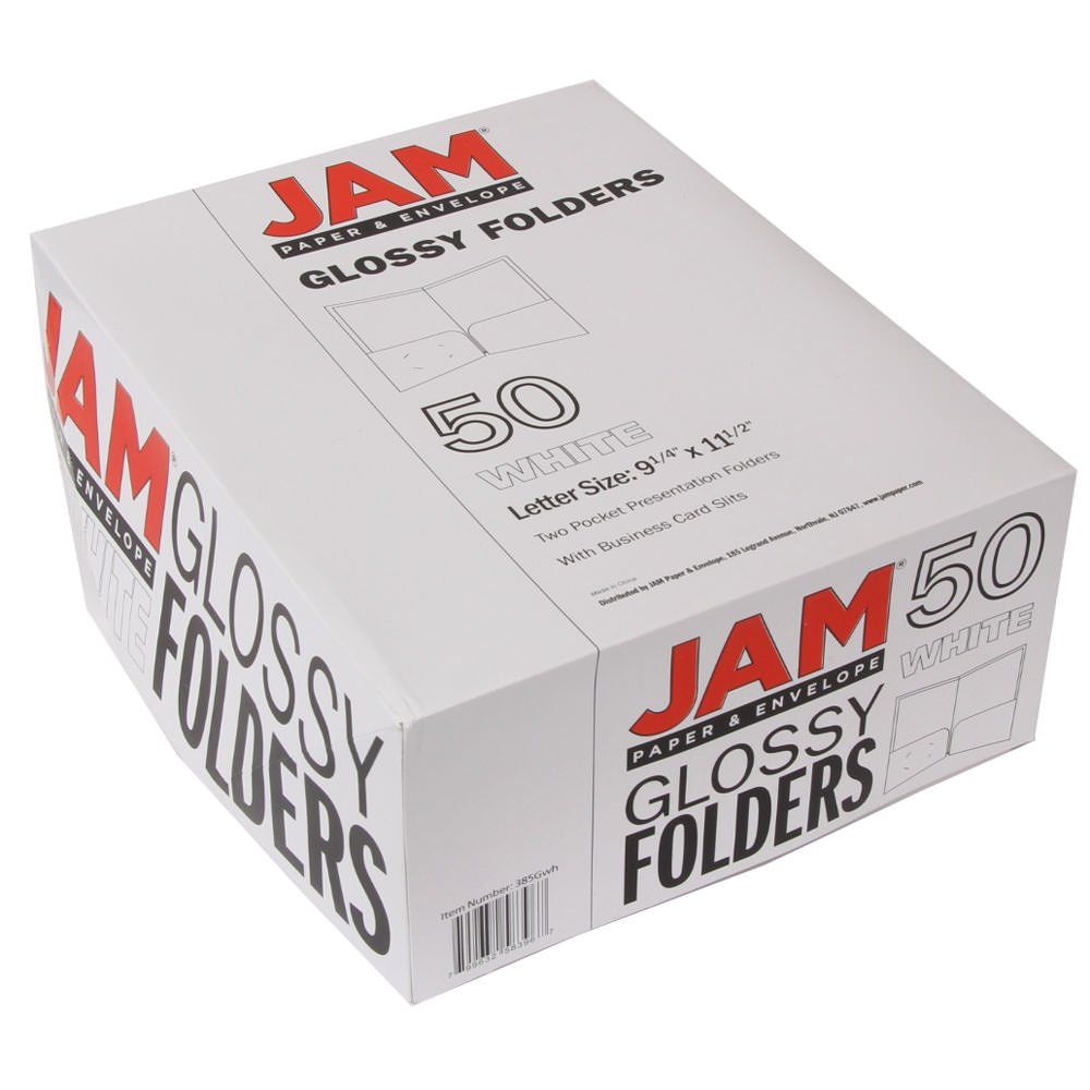 JAM PAPER Laminated Two Pocket Glossy Folders - White - Bulk 50/Box