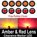 "10 Pcs TMH 3/4"" Inch Mount 5 pcs Amber & 5 pcs RED LED Clearance Markers Bullet Marker lights, side marker lights, led marker lights, led side marker lights, led trailer marker lights"