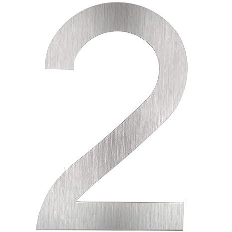 TecTake - Número de casa de acero inoxidable 18/8, 20 cm - varios modelos (Número 2 | 400799)