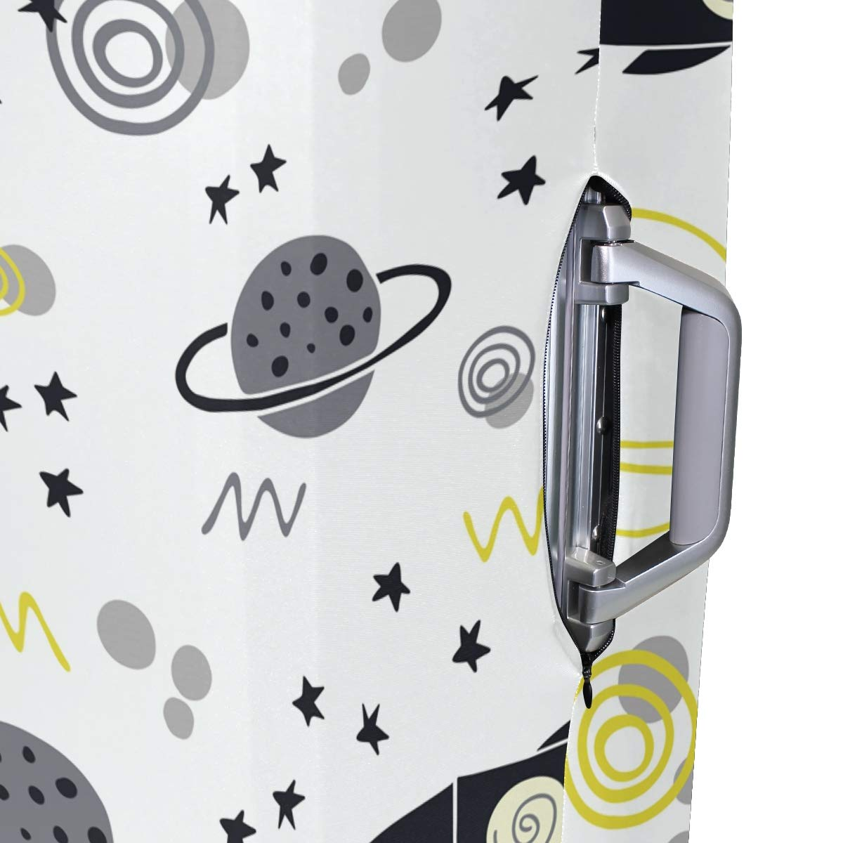 Baggage Covers Yellow Grey Black Rocket Planet Drawn Washable Protective Case