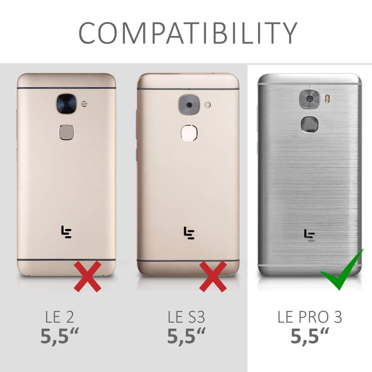 kwmobile Funda para LeEco Le Pro 3 - Carcasa para móvil de [Cuero sintético] - Case [Plegable] en [Negro]