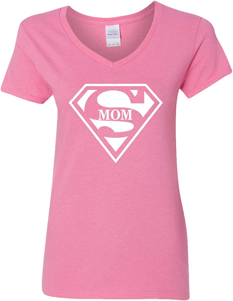 Amazon Com Super Mom V Neck T Shirt Womens Supergirl Superman Superwoman Movie Girl Mother Clothing