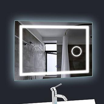 Miroir Salle de Bains avec éclairage 20W Tonffi HD Image étanche ...