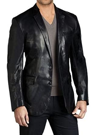 World Of Leather Men\u0027s Black 2 Button Leather Blazer