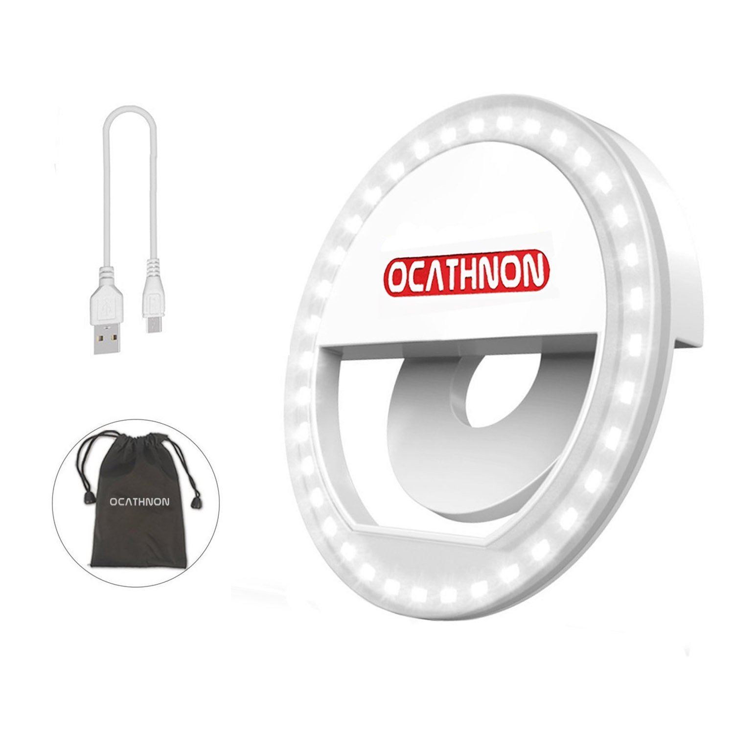 Selfie Ring Light for iPhone,Clip on Selfie Lights for Girls Makeup Light,36LED Rechargeable Selfie Fill Light For iPhone Samsung Galaxy & Other Smartphones Vlogging Camera Video Photography - White