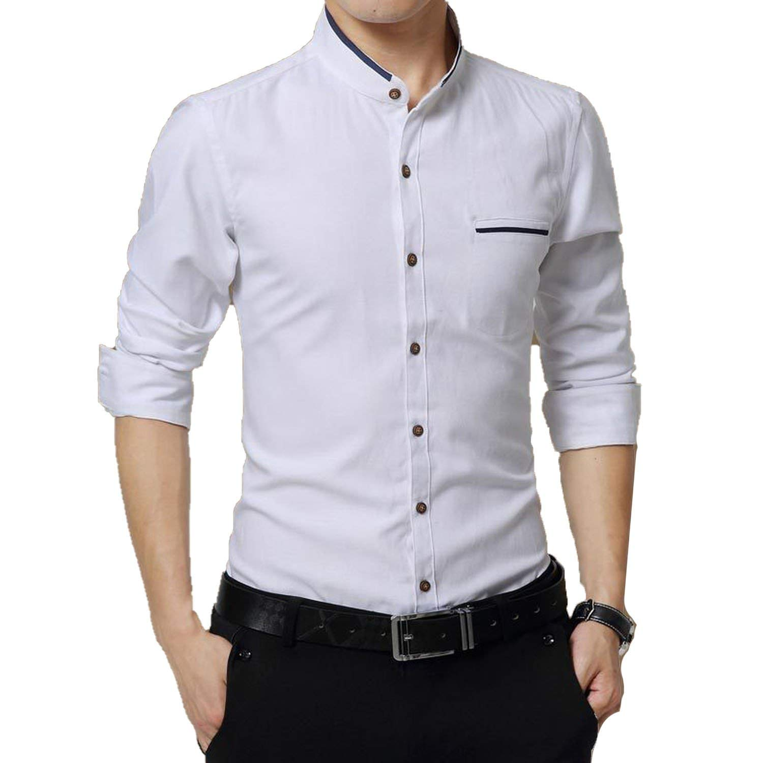 Avory outerwear-jackets Mens Casual Long Sleeve Business Collar Slim fit Shirt