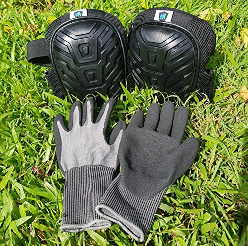 Knee Armor Heavy Duty Professional Knee Pads with Gel Cushions, EVA Foam, Adjustable Straps, Bonus Protective Gloves. Superb Knee and Hand Protection. Perfect for Construction, Gardening and More by Knee Armor (Image #8)