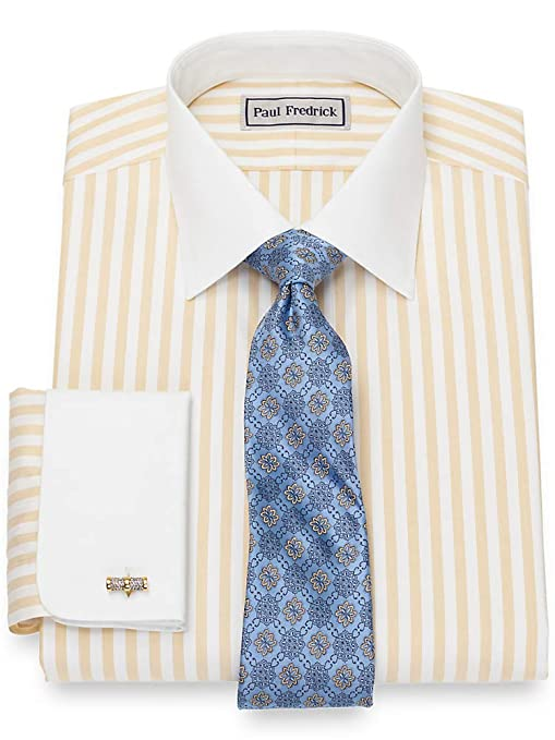 Vintage Shirts – Mens – Retro Shirts Paul Fredrick Mens Impeccable Non-Iron Cotton Stripe French Cuff Dress Shirt Gold $99.50 AT vintagedancer.com
