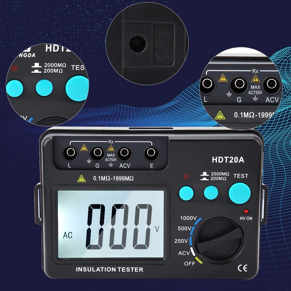 Insulation Resistance Tester HDT20A LCD Display Voltmeter 250V // 500V // 1000V