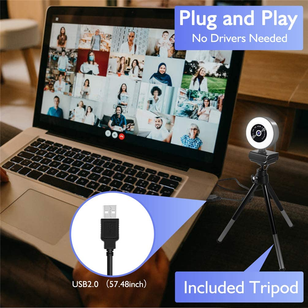 Webcam con micr/ófono c/ámara Web HD 2K con Anillo de luz y tr/ípode C/ámara Web con transmisi/ón USB para Mac computadora de Escritorio computadora port/átil videollamadas conferencias en l/ínea Juegos