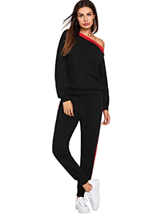e3f62ade78b9 SheIn Women's 2 PC Outfits Cold Shoulder Sweatshirt + Long Pants Tracksuits  Set X-Small