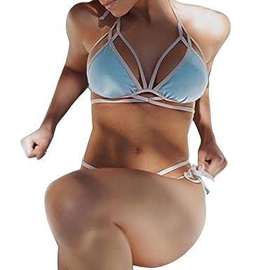 Damen Push Up Bikini Oberteil Triangel BH Bademode Top Träger Bra 34 36 38 40 42