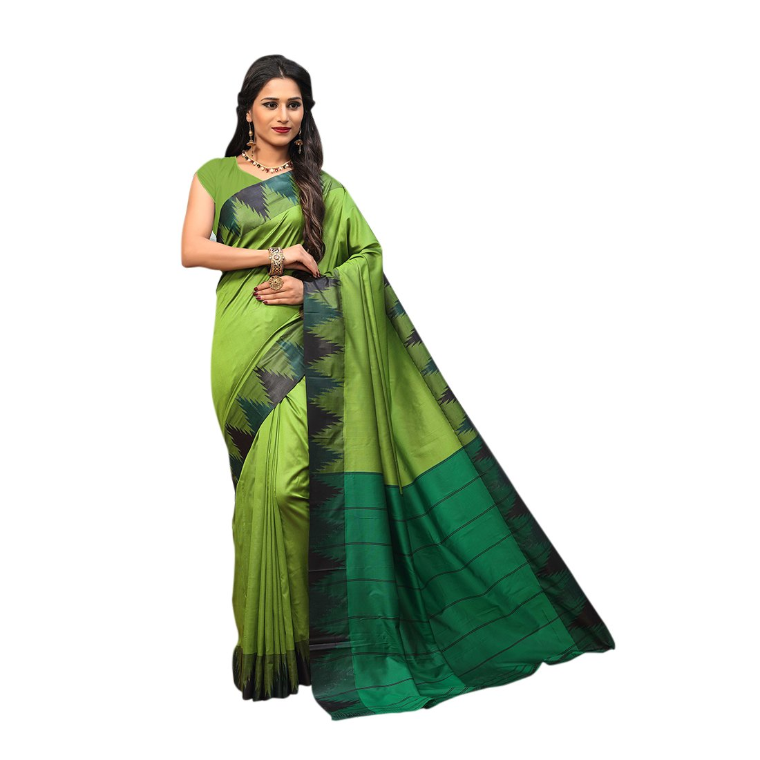 d9db46527a2966 Craftsvilla Women s Silk saree Blend with Zari border Work Traditional  Green Saree with blouse piece