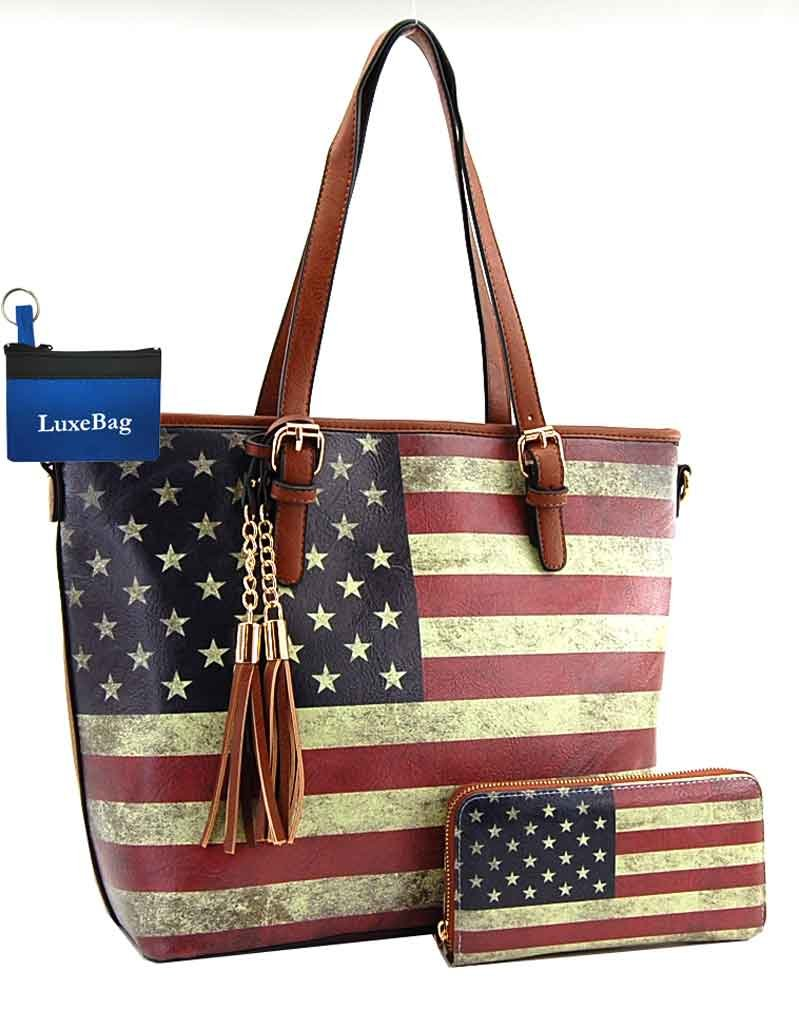 American Flag Large Purse Wallet Set, Vintage U.S. Flag Tote Style (Tan)