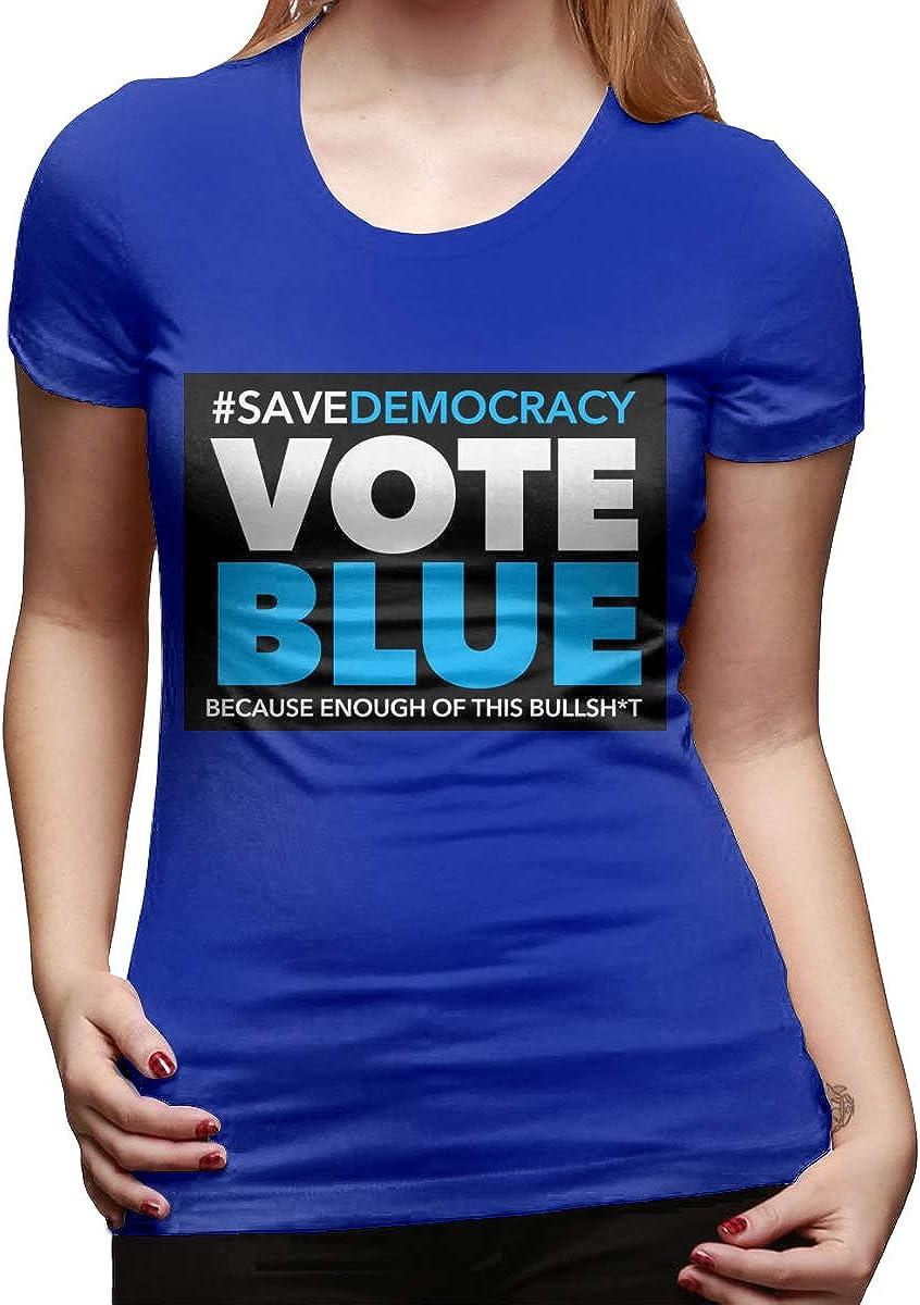 Scattering Womans Regular Vote Blue Tee 100/% Cotton Black