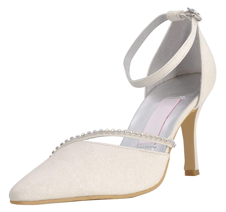 ZHRUI GYMZ702 Damen Strappy Elfenbein Glitter Abend Party Prom Braut Hochzeit Schuhe Pumps Sandalen Flatfs UK 7 (Farbe   - Größe   -)