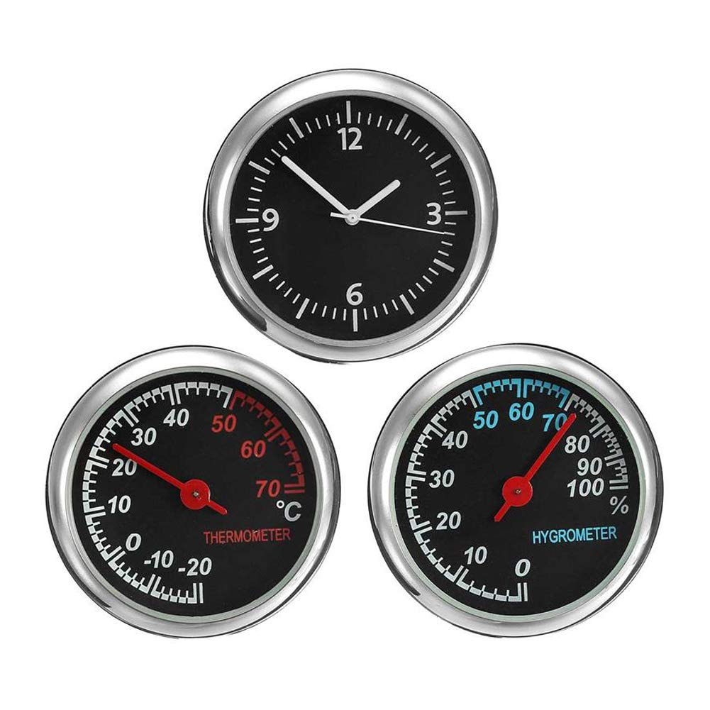Car Hygrometer Hygrometer, Mini Car Dashboard Small Analog Quartz Clock, Thermometer&Hygrometer Gauge Monitor Kit Accessories(Black) yodaliy 7476180