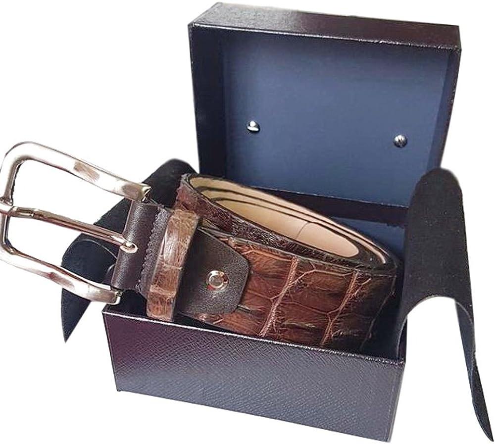 Coccodrillo e pelle bovina ESPERANTO Cintura Pitone fodera in Pelle Bovina naturale e Fibbia anallergica nichel free-unisex 4 cm
