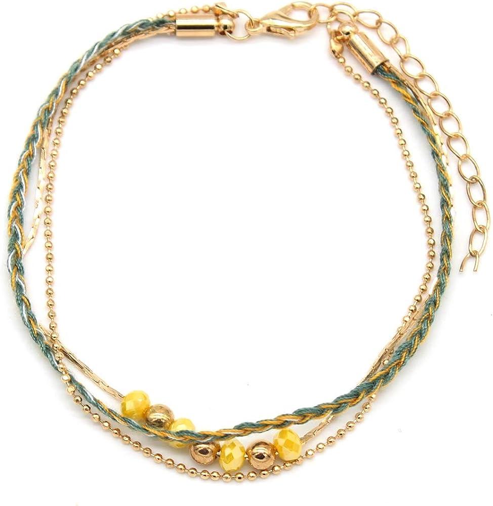 Bracelet de cheville 3 couches Bracelet de cheville corde et perles Cha/îne Longueur r/églable Musthaves