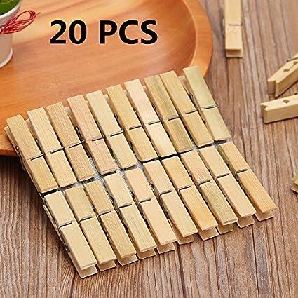 laprobing Clothespins Ropa Calcetines Percha Abrazaderas 20 pcs bambú secado accesorio de Clip y goteo Percha